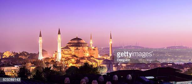 Aya Sofya Mosque at Night in Istanbul Turkey