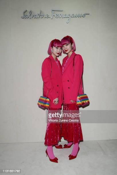 Aya Suzuki and Ami Suzuki attend the Salvatore Ferragamo show during Milan Fashion Week Autumn/Winter 2019/20 on February 23, 2019 in Milan, Italy.