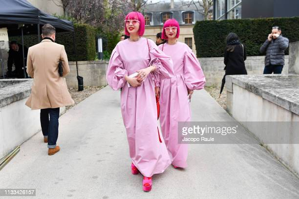 Aya Suzuki and Ami Suzuki of Amiaya attends the Valentino show as part of the Paris Fashion Week Womenswear Fall/Winter 2019/2020 on March 03 2019 in...