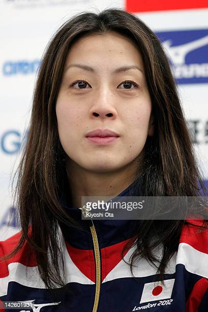 Aya Terakawa attends a press conference to announce the Japan swimming team for the London 2012 Olympic Games at the Ajinomoto National Training...