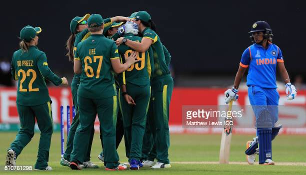 Ayabonga Khaka of South Africa is congratulated on bowling Veda Krishnamurthy of India during the ICC Women's World Cup 2017 match between South...