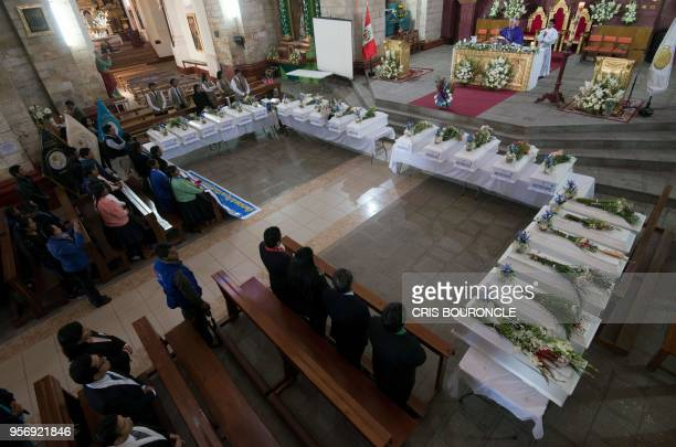 Ayacucho's archbishop Salvador Pineiro celebrates a mass at the cathedral of Huanta in Ayacucho Peru on May 9 during which residents mostly peasants...