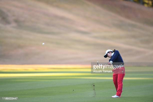 Ayaka Furue of Japan hits her second shot on the 10th hole during the first round of the Daio Paper Elleair Ladies at Elleair Golf Club Matsuyama on...