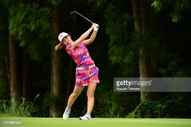 Ayaka Furue of Japan hits her tee shot on the 13th hole during the final round of the Descente Ladies Tokai Classic at the Shin Minami Aichi Country...