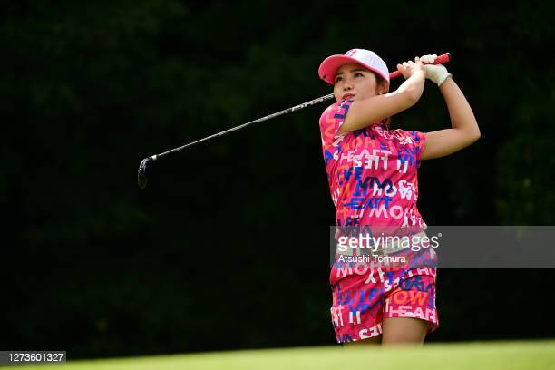 Ayaka Furue of Japan hits her tee shot on the 16th hole during the final round of the Descente Ladies Tokai Classic at the Shin Minami Aichi Country...
