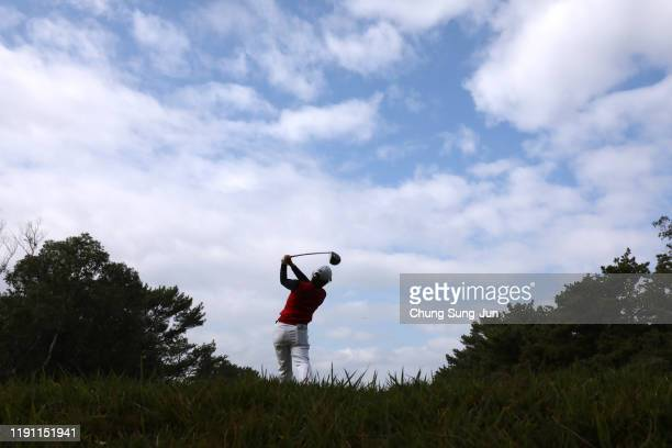 Ayaka Furue of Japan hits her tee shot on the 4th hole during the final round of the LPGA Tour Championship Ricoh Cup at Miyazaki Country Club on...