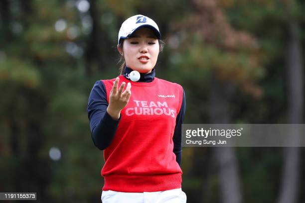 Ayaka Furue of Japan reacts after the bogey on the 6th green during the final round of the LPGA Tour Championship Ricoh Cup at Miyazaki Country Club...