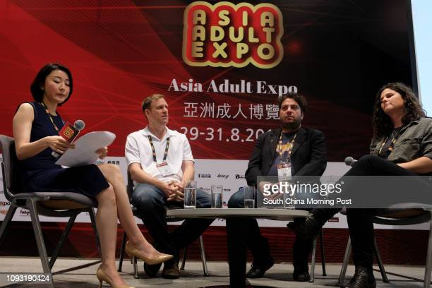 Ayaka Hahn Scotty Velvet Blogger named 'VR PIMP' Gianluigi Perrone and Michelle Flynn at the Asia Adult Expo 2017 at Hong Kong Convention and...