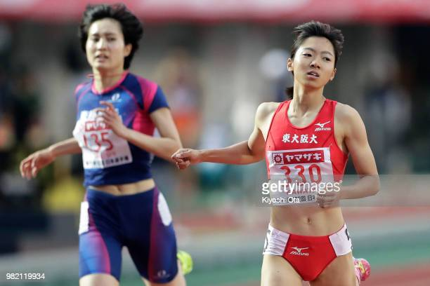 Ayaka Kawata reacts as she wins the Women's 400m final on day two of the 102nd JAAF Athletic Championships at Ishin MeLife Stadium on June 23 2018 in...