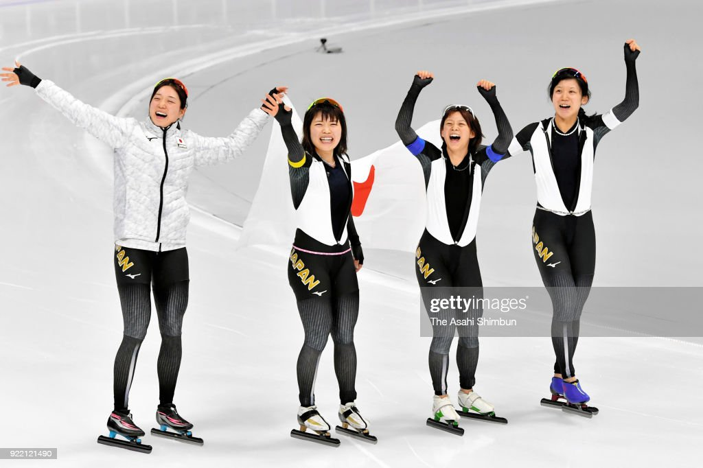 Ayaka Kikuchi, Ayano Sato, Miho Takagi and Nana Takagi of Japan celebrate winning the gold medal in the Speed Skating Women's Team Pursuit on day twelve of the PyeongChang 2018 Winter Olympic Games at Gangneung Oval on February 21, 2018 in Gangneung, South Korea.