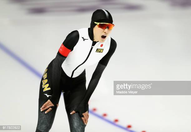 Ayaka Kikuchi of Japan competes during the Ladies 1500m Long Track Speed Skating final on day three of the PyeongChang 2018 Winter Olympic Games at...