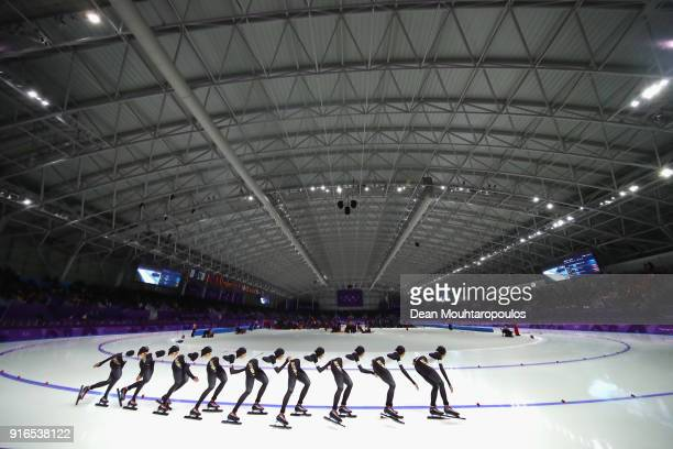 Ayaka Kikuchi of Japan competes during the Women's Speed Skating 3000m on day one of the PyeongChang 2018 Winter Olympic Games at Gangneung Oval on...