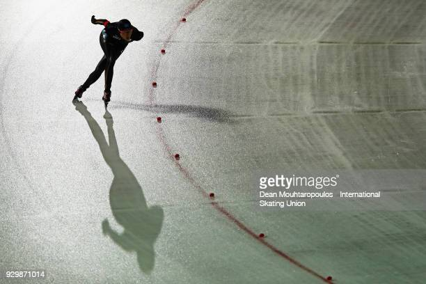 Ayaka Kikuchi of Japan competes in the 3000m Ladies race during the World Allround Speed Skating Championships at the Olympic Stadium on March 9 2018...