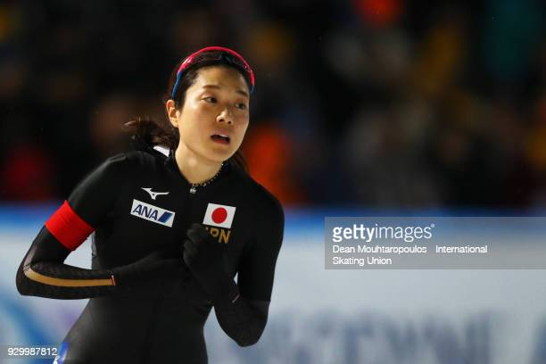 Ayaka Kikuchi of Japan competes in the 500m Ladies race during the World Allround Speed Skating Championships at the Olympic Stadium on March 9 2018...