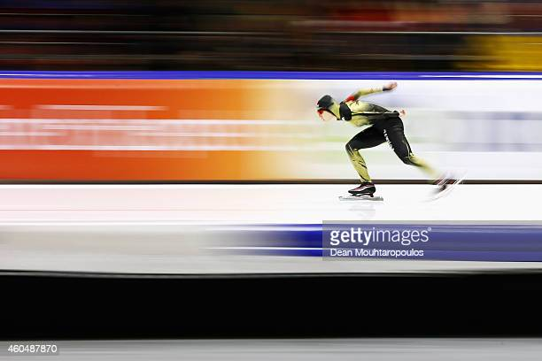 Ayaka Kikuchi of Japan competes in the Division A 1500m Ladies race on day three of the ISU World Cup Speed Skating held at Thialf Ice Arena on...