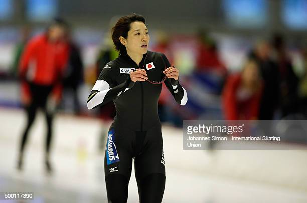 Ayaka Kikuchi of Japan participates in the ladies 1000m heats during Day 2 of the ISU Speed Skating World Cup at the Max Aicher Arena on December 5...