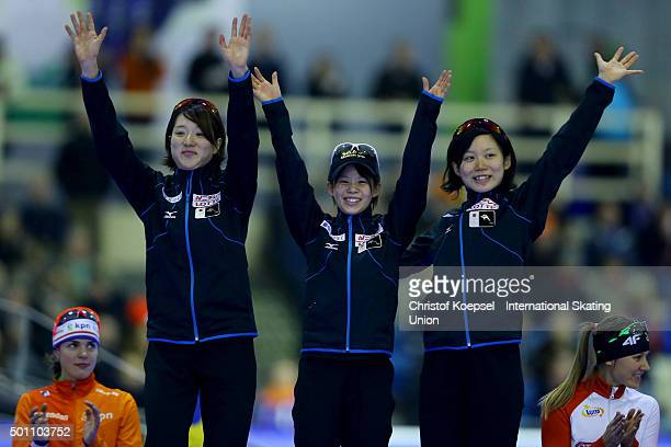 Ayaka Kukichi Nana Takagi and Miho Takagi of Japan pose during the medal ceremony after winning the 1st place of the ladies team pursuit during day 2...