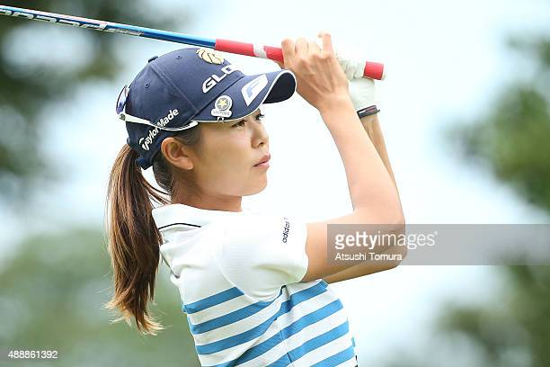 Ayaka Matsumori of Japan hits her tee shot on the 1st hole during the first round of the Munsingwear Ladies Tokai Classic at the Shin Minami Aichi...