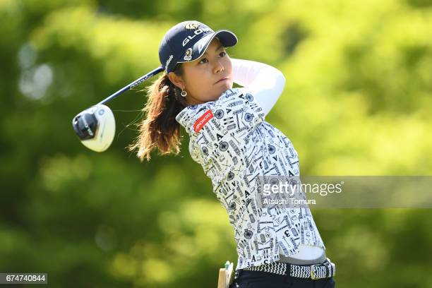 Ayaka Matsumori of Japan hits her tee shot on the 2nd hole during the second round of the CyberAgent Ladies Golf Tournament at the Grand Fields...