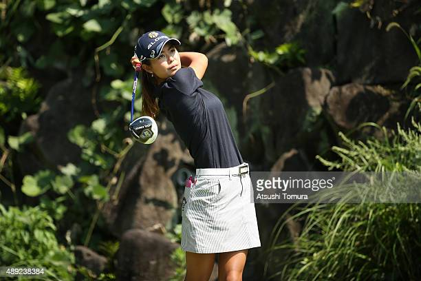 Ayaka Matsumori of Japan hits her tee shot on the 5th hole during the final round of the Munsingwear Ladies Tokai Classic at the Shin Minami Aichi...