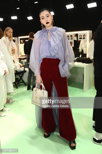 Ayaka Miyoshi is seen backstage at the Gucci Backstage during Milan Fashion Week Fall/Winter 2020/21 on February 19, 2020 in Milan, Italy.