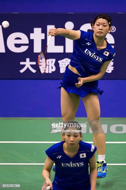 Ayaka Takahashi and Misaki Matsutomo of Japan in action while playing against Gabriela Stoeva and Stefani Stoeva of Bulgaria during the 2016 Hong...