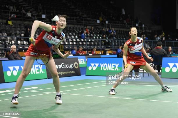 Ayaka Takahashi and Misaki Matsutomo seen in action during the 2019 Australian Badminton Open Women's Doubles match against Jongkolphan Kititharakul...