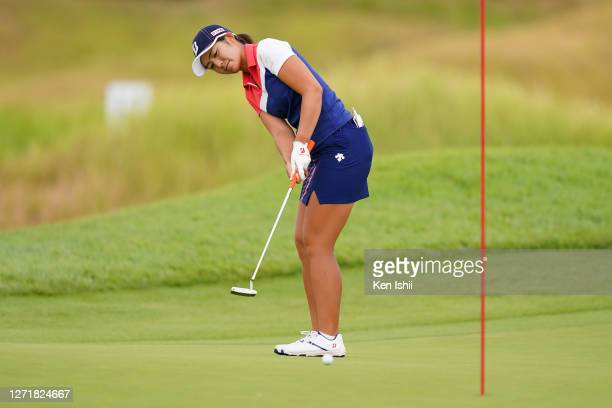 Ayaka Watanabe of Japan attempts a putt on the 10th green during the second round of the JLPGA Championship Konica Minolta Cup at the JFE Setonaikai...
