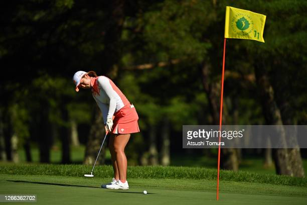 Ayaka Watanabe of Japan attempts a putt on the 11th green during the second round of the NEC Karuizawa 72 Golf Tournament at the Karuizawa 72 Golf...
