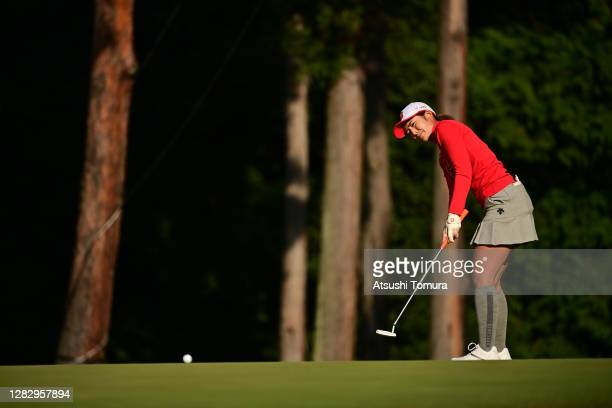 Ayaka Watanabe of Japan attempts a putt on the 18th green during the first round of the Hisako Higuchi Mitsubishi Electric Ladies Golf Tournament at...