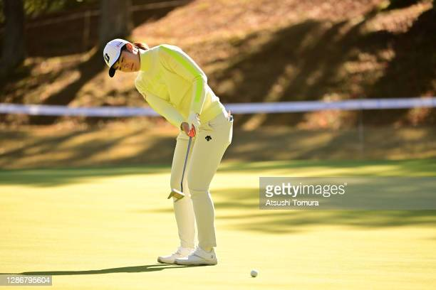 Ayaka Watanabe of Japan attempts a putt on the 18th green during the third round of the Daio Paper Elleair Ladies Open at the Elleair Golf Club...