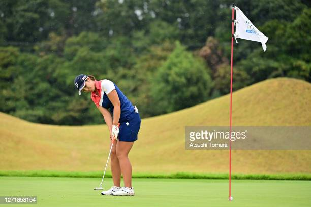 Ayaka Watanabe of Japan attempts a putt on the 2nd green during the second round of the JLPGA Championship Konica Minolta Cup at the JFE Setonaikai...