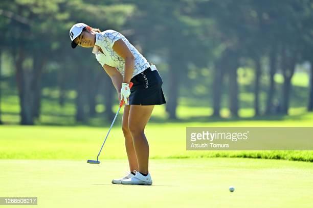 Ayaka Watanabe of Japan attempts a putt on the 3rd green during the final round of the NEC Karuizawa 72 Golf Tournament at the Karuizawa 72 Golf Kita...
