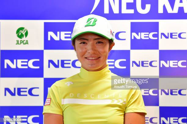 Ayaka Watanabe of Japan attends an online press conference following a practice round ahead of the NEC Karuizawa 72 Golf Tournament at the Karuizawa...