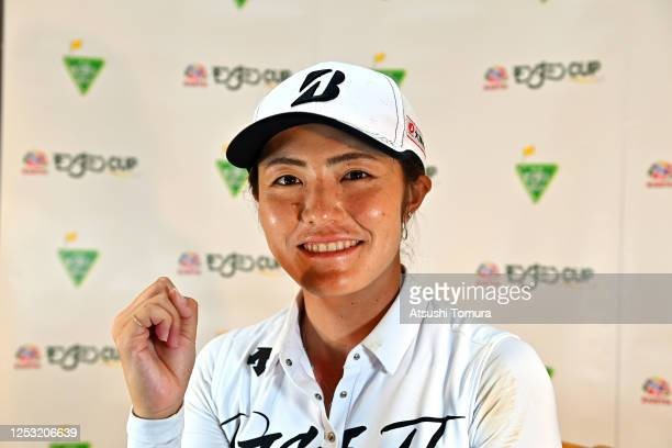 Ayaka Watanabe of Japan attends the online press conference after winning the tournament following the final round of the Earth Mondamin Cup at the...