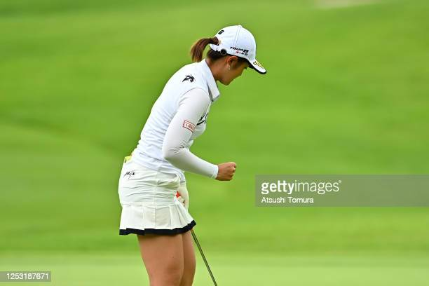Ayaka Watanabe of Japan celebrates the birdie on the 17th green during the final round of the Earth Mondamin Cup at the Camellia Hills Country Club...