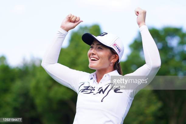 Ayaka Watanabe of Japan celebrates winning the tournament through the playoff during the final round of the Earth Mondamin Cup at the Camellia Hills...