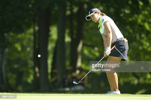 Ayaka Watanabe of Japan chips onto the 13th green during the first round of the meiji Cup 2016 at the Sapporo Kokusai Country Club on July 31 2016 in...