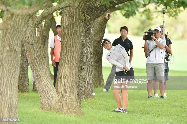 Ayaka Watanabe of Japan chips onto the 13th green during the second round of the Nitori Ladies 2016 at the Otaru Country Club on August 26 2016 in...