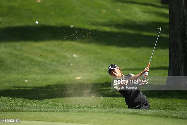 Ayaka Watanabe of Japan chips onto the 6th green during the final round of the Nitori Ladies 2015 at the Otaru Country Club on August 30 2015 in...