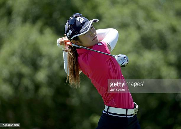 Ayaka Watanabe of Japan hits a tee shot on the 18th hole during the final round of the US Women's Open at the CordeValle Golf Club on July 10 2016 in...