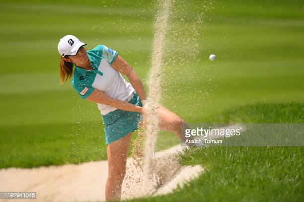 Ayaka Watanabe of Japan hits froma bunker on the 18th hole during the first round of the Thamansa Thavasa Girls Collection Ladies Tournament at the...
