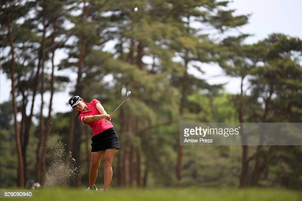 Ayaka Watanabe of Japan hits her scond shot on the 14th hole during the final round of the World Ladies Championship Salonpas Cup at the Ibaraki Golf...