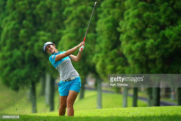 Ayaka Watanabe of Japan hits her second shot on the 13th hole during the first round of the Suntory Ladies Open at the Rokko Kokusai Golf Club on...