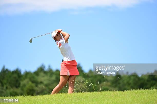 Ayaka Watanabe of Japan hits her second shot on the 17th hole during the final round of the GOLF5 Ladies Tournament at the GOLF5 Country Mizunami...