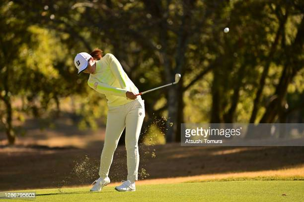 Ayaka Watanabe of Japan hits her second shot on the 18th hole during the third round of the Daio Paper Elleair Ladies Open at the Elleair Golf Club...