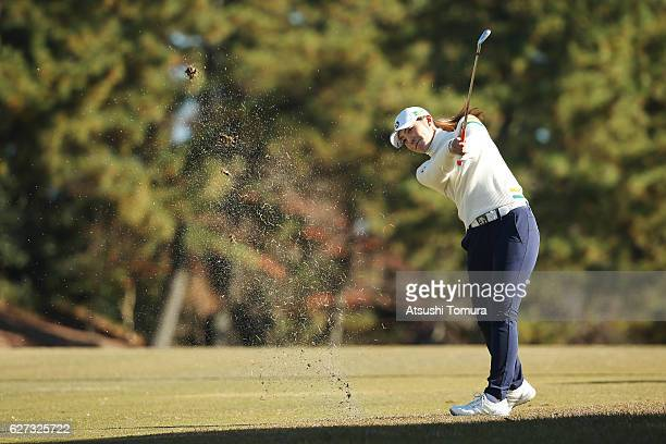 Ayaka Watanabe of Japan hits her second shot on the 1st hole during the second round of the THE QUEENS Presented By KOWA at the Miyoshi Country Club...