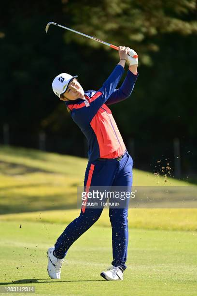 Ayaka Watanabe of Japan hits her second shot on the 6th hole during the second round of the Hisako Higuchi Mitsubishi Electric Ladies Golf Tournament...