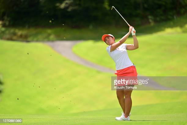 Ayaka Watanabe of Japan hits her second shot on the 7th hole during the final round of the GOLF5 Ladies Tournament at the GOLF5 Country Mizunami...