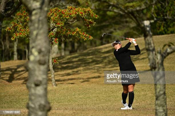 Ayaka Watanabe of Japan hits her second shot on the 7th hole during the final round of the Daio Paper Elleair Ladies Open at the Elleair Golf Club...